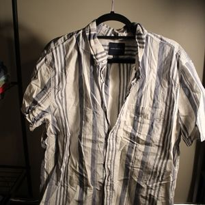 Mens American Eagle Striped Short Sleeve Button Up
